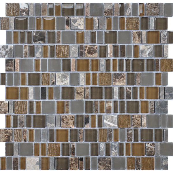 Karma Stone and Glass Mosaic Tiles - Brown - rockypointtile-ca