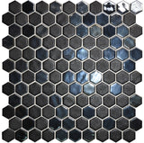 1 Inch Black Hexagon Mosaic Tiles - rockypointtile-ca
