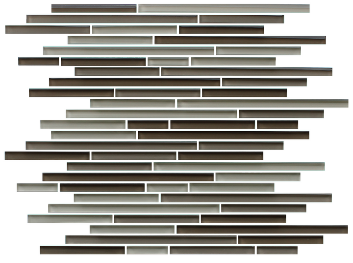 Santa Rosa Dark Brown Linear Glass Mosaic Tile - rockypointtile-ca