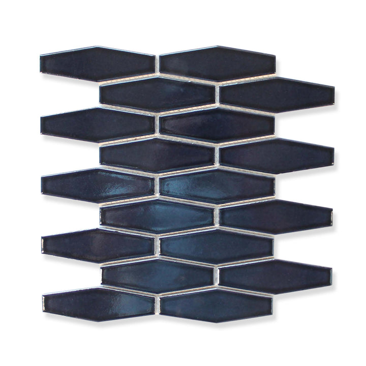 Atlanta Elongated 3D Hexagon Mosaic Tiles - Midnight Blue - rockypointtile-ca
