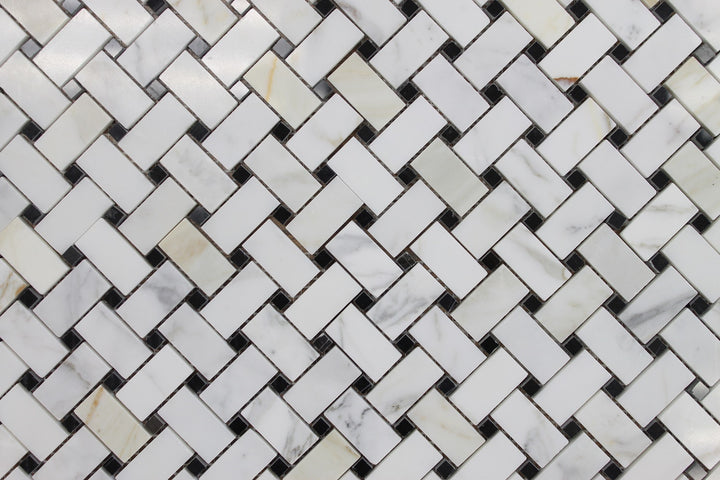 Calacatta Gold Basket Weave with Black Dot Polished Marble Mosaic Tiles - rockypointtile-ca