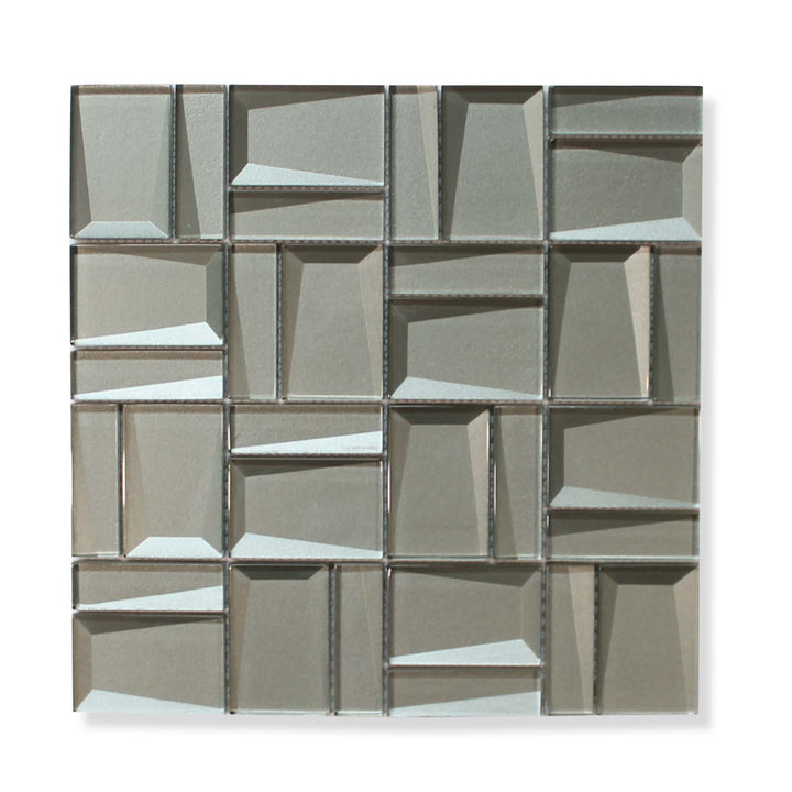 Illusion II 3D 3x3 Beveled Glass Mosaic Tiles - Erinite - rockypointtile-ca