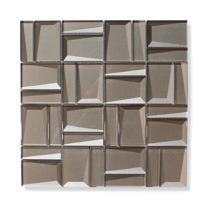 Illusion II 3D 3x3 Beveled Glass Mosaic Tiles - Morion - rockypointtile-ca