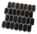 Matrix Long Hexagon Ceramic Mosaic Tile - Black - rockypointtile-ca