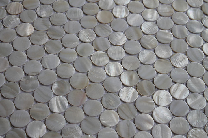 Mother of Pearl Oyster White 1 Inch Circle Mosaic Tiles - rockypointtile-ca