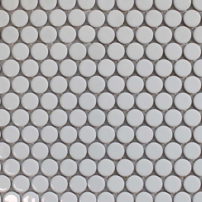Pop Ceramic Penny Round Mosaic Tiles - Cotton White - rockypointtile-ca