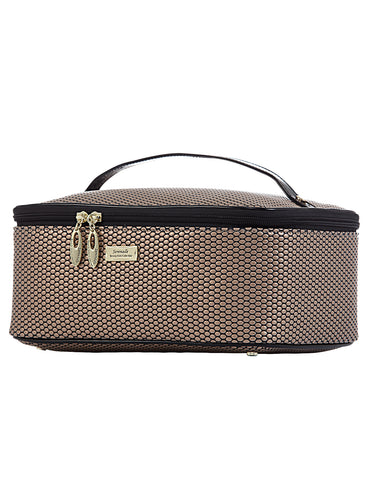 Cosmoplitan Faux Leather Large Cosmetic bag - Gold