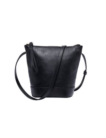 JENNA LEATHER BUCKET BAG- BLK