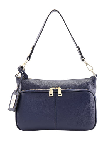 KAYLA LEATHER CROSS BODY BAG-NAVY BLUE