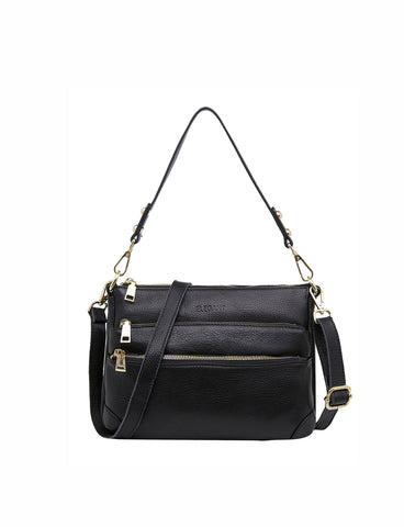 Faith leather cross body bag- Black