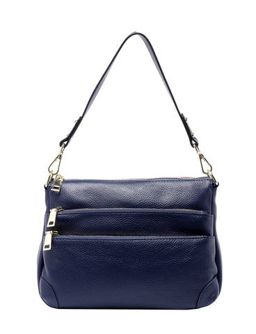 FAITH LEATHER CROSS BODY BAG- NVY