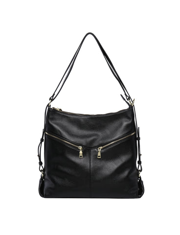 Elegant Beverly Hills Kaylee convertible leather Shoulder bag/backpack- Black
