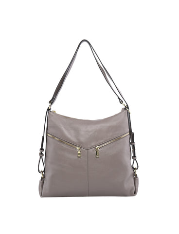 Elegant Beverly Hills Kaylee convertible leather Shoulder bag/backpack- Stone