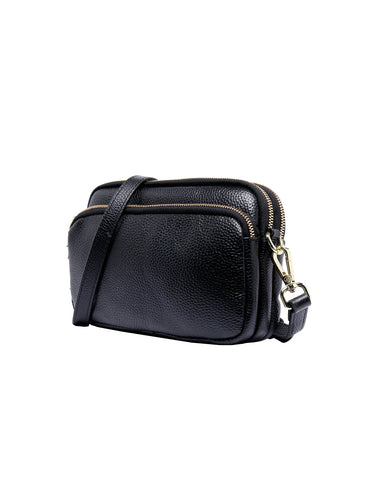 JESS LEATHER CROSS BODY BAG- BLK