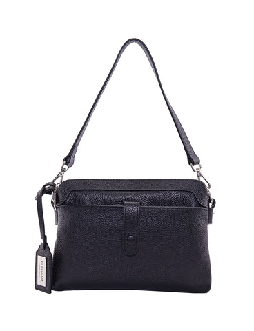 HOPE LEATHER CROSS BODY BAG-BLACK