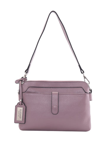HOPE LEATHER CROSS BODY BAG- MAUVE
