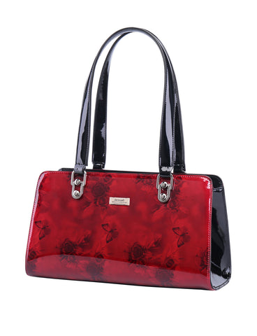 CHERRY ROSE LARGE LEATHER BAG-silver fittings
