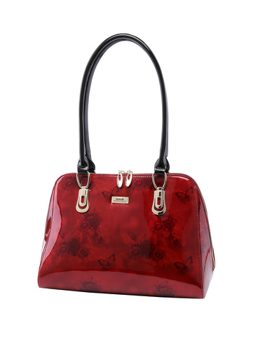 Serenade Beverly Hills Collection Cherry Rose zip around leather bag