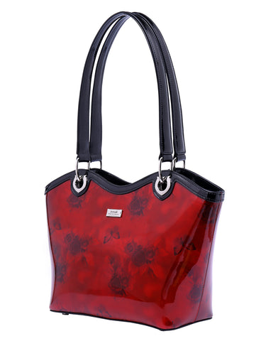 CHERRY ROSE PATENT LEATHER BUCKET SHOPPER- SILVER FITTINGS