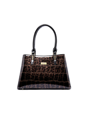 LEOPARD TRIPLE COMPARTMENT LEATHER BAG
