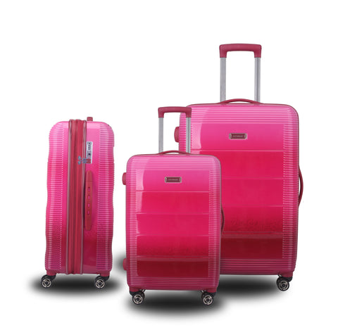 Rainbow 100% PC set of 3 suitcases- Pink
