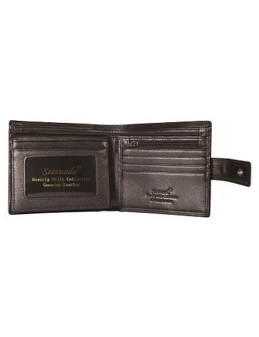 CAESAR MEN'S LEATHER BILLFOLD WALLET WITH TAB CLOSURE AND RFID-  GRAIN FINISH