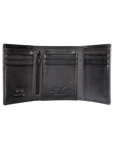 Caesar Men's Leather Trifold Wallet with rfid- Grain finish