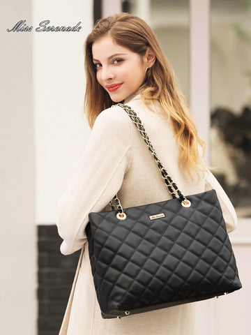 Miss Serenade Evelyn Faux leather quilted tote bag