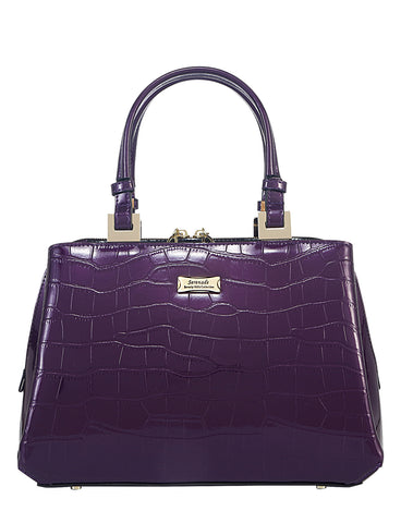Pandora triple compartment Leather Handbag- Purple