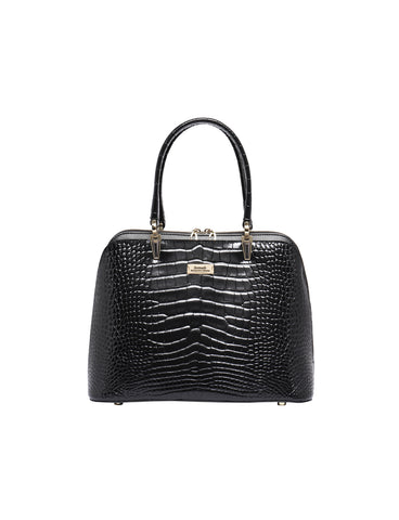 MADELINE ZIP AROUND LEATHER BAG- BLACK