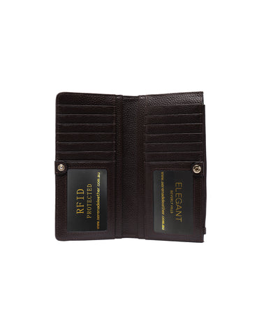 FAITH LARGE LEATHER RFID WALLET-CHOC