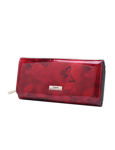 Cherry Rose Large Leather Wallet with RFID- Silver fittings