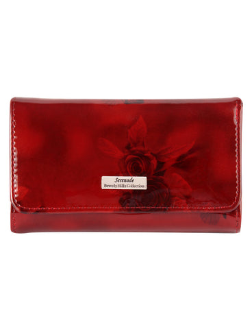 Cherry Rose Medium Leather Wallet with RFID- Silver Fittings