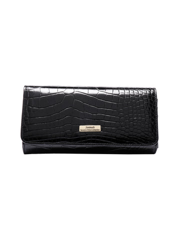 LYDIA LARGE LEATHER RFID WALLET-BLK