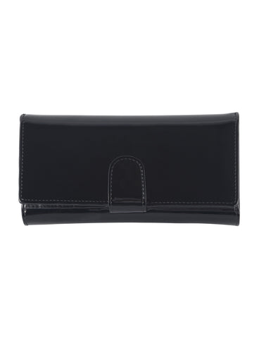Allura Large Patent Leather Wallet with RFID- BLACK