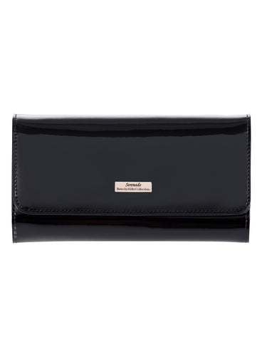 Allura Large Patent Leather Wallet with RFID- BLACK WITH SILVER FITTINGS