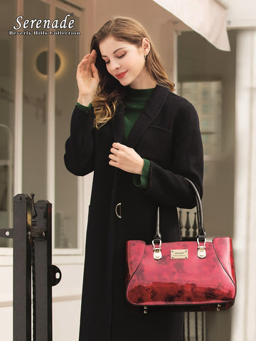Serenade Beverly Hills Collection Cherry Rose  leather bag