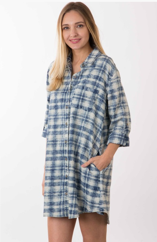 Denim Washed Plaid Tunic