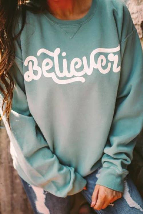 Believer | Cypress Green |  Long Sleeve Sweatshirt