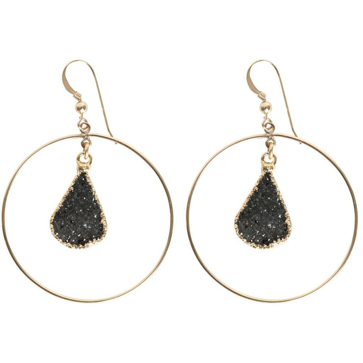 LOVE, POPPY - Circle + Hanging Druzy Earring