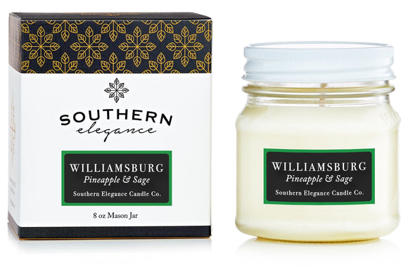 Southern Elegance Candle Co. - Mason: Williamsburg: (Pineapple & Sage)