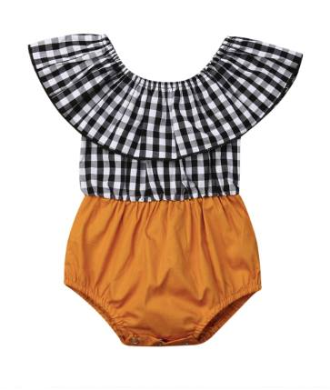 PRE-ORDER Mustard & Plaid Bubble Romper (ESTIMATED SHIP OCTOBER)