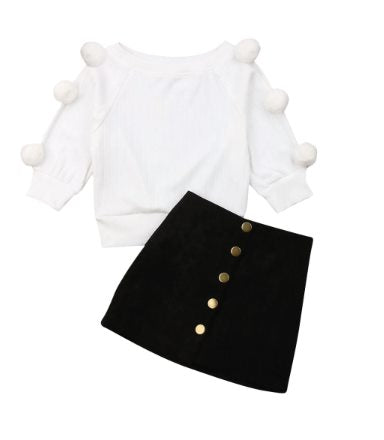 PRE-ORDER Pom Pom Sweater & Skirt Set (ESTIMATED SHIP OCTOBER)