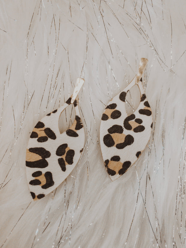 Genuine Leather Leopard Earrings