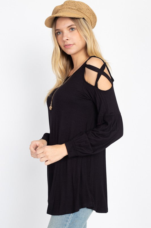 All Hearts on You Cold Shoulder Top