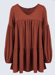 PRE-ORDER   Boho Bubble Sleeve Top   (Est. Ship  DECEMBER)