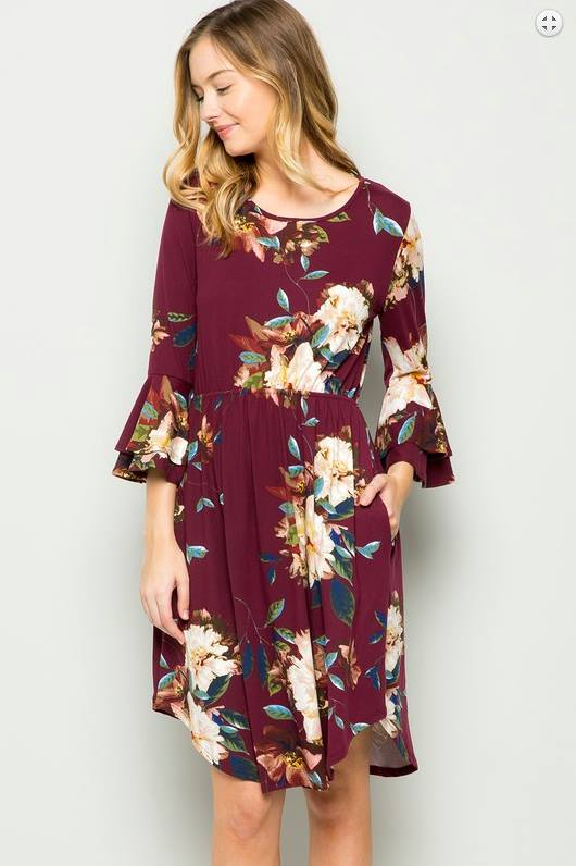 Butter Soft Burgundy Floral Midi