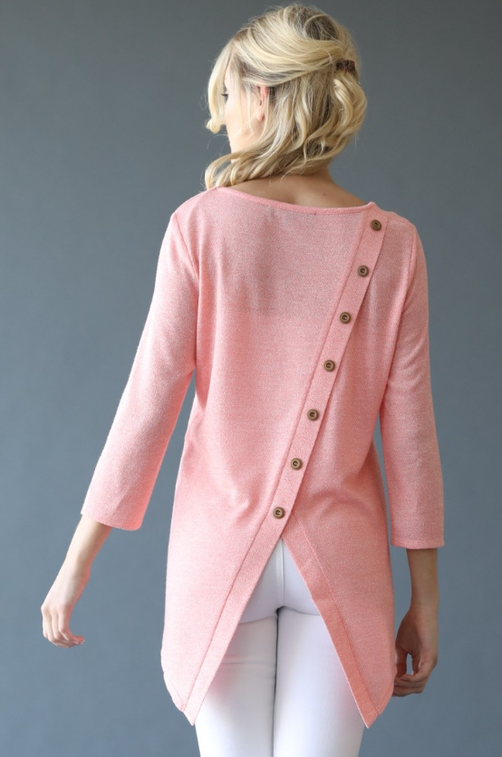Coral Button Back