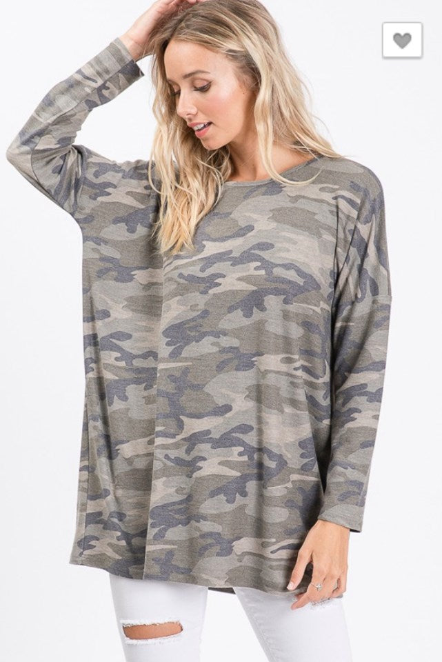 Cute Camo Drop Shoulder Top