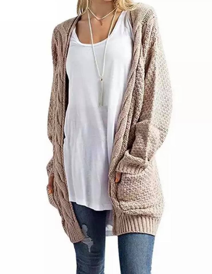 PRE-ORDER  Cute Cable Knit Cardi Khaki   (Est. Ship  NOVEMBER)